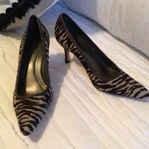 Ann Taylor Genuine Leather Zebra Print Pumps Heels